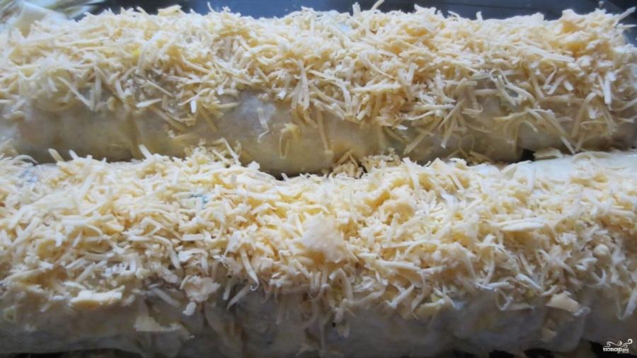 Рулет из лаваша с яйцом и сыром - фото шаг 8
