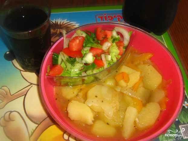 Тушеная картошка с болгарским перцем