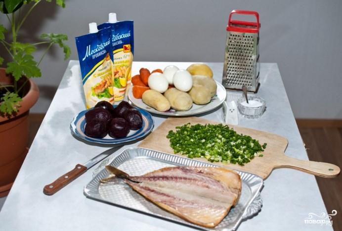 Салат из скумбрии холодного копчения - фото шаг 1