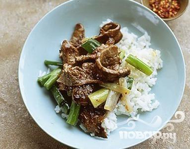 Рецепт Жаркое из говядины с зеленым луком