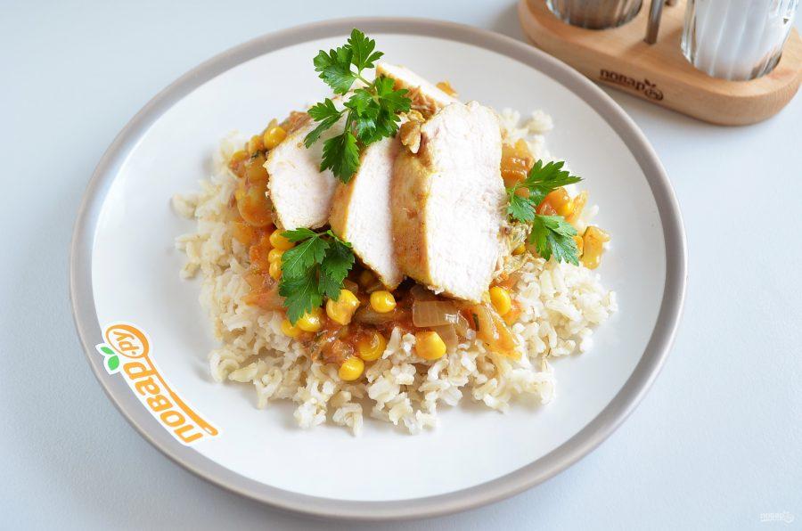 Курица с куркумой в кисло-сладком соусе