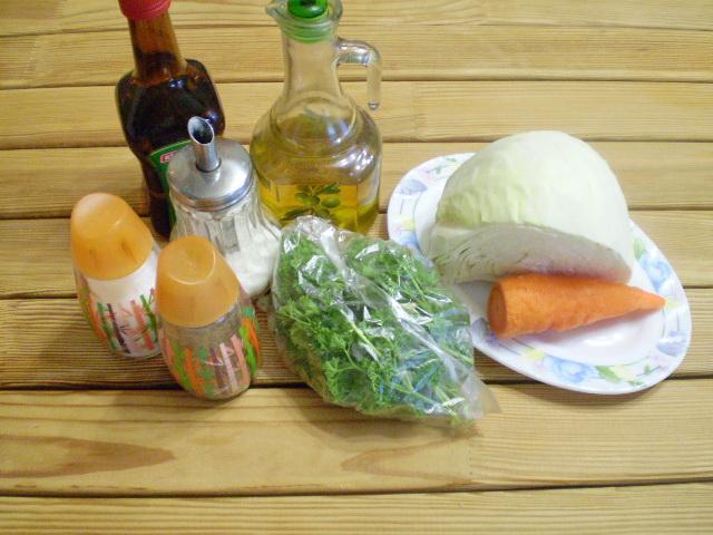 Рецепт Салат витаминный из капусты и моркови с уксусом