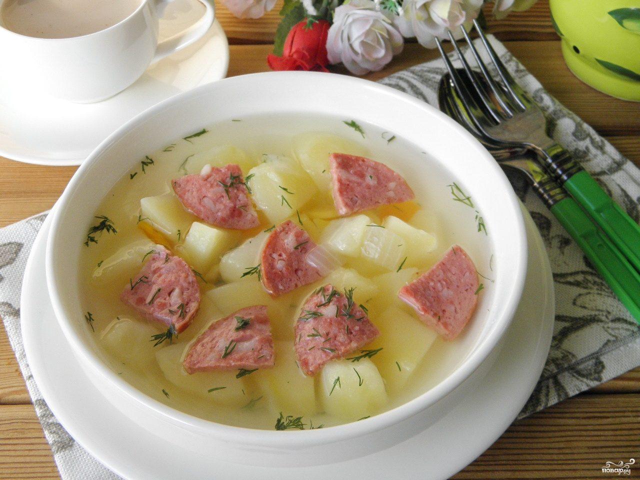 Суп с копченой колбасой