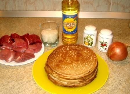 Рецепт Блинчики с мясом и рисом