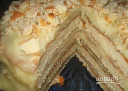 Торт на сковороде с творогом - фото шаг 8