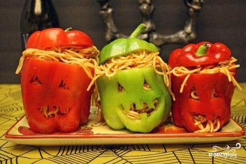 Рецепт Спагетти в болгарском перце на Хэллоуин