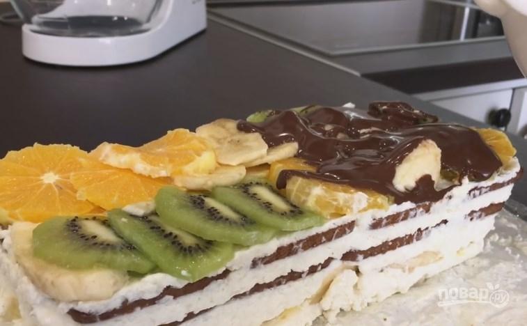 торт с фруктами и желе без выпечки фото и рецепт