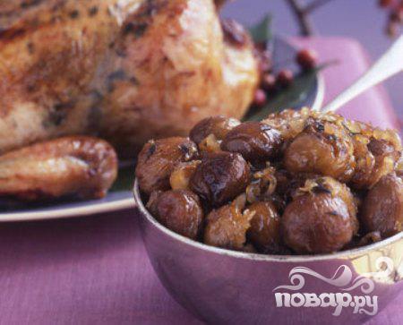 Рецепт Жареная курица с каштанами