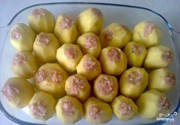 картофель фаршированный запеченный в духовке с фаршем фото рецепт