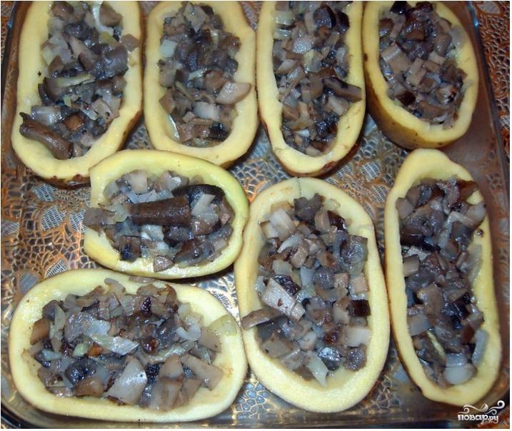 Картофельные лодочки с грибами - фото шаг 3