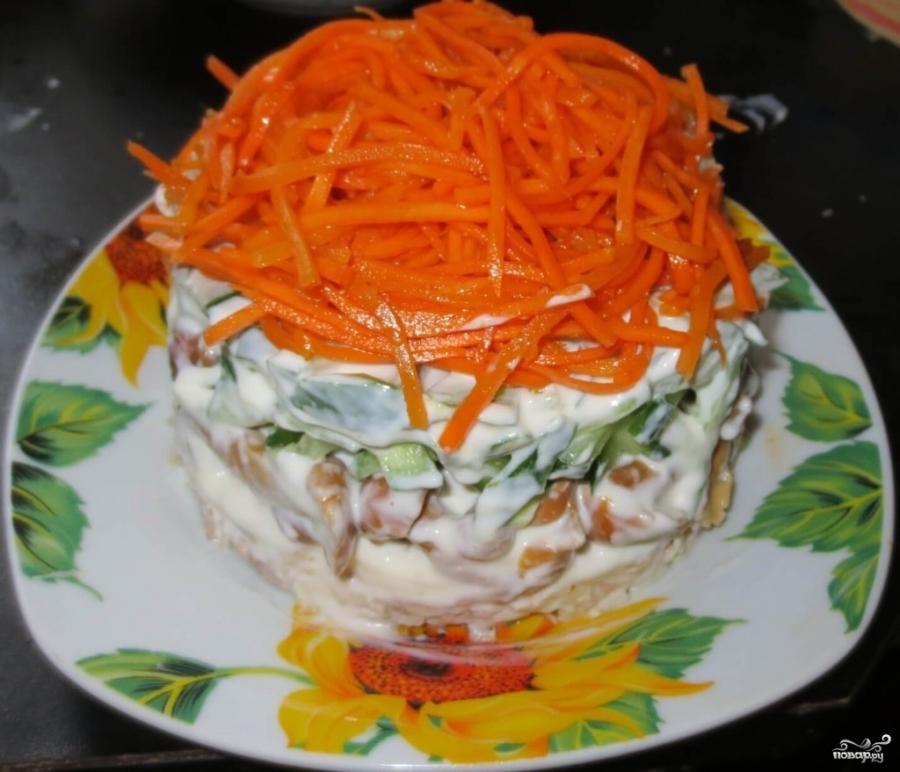 Салат корейская морковь с грибами рецепт пошагово 2