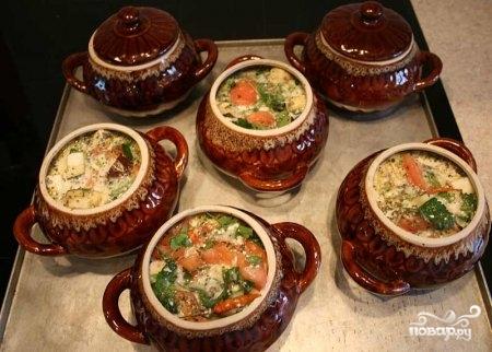 Рецепт: Картофель с овощами и грибами в горшочках на ...