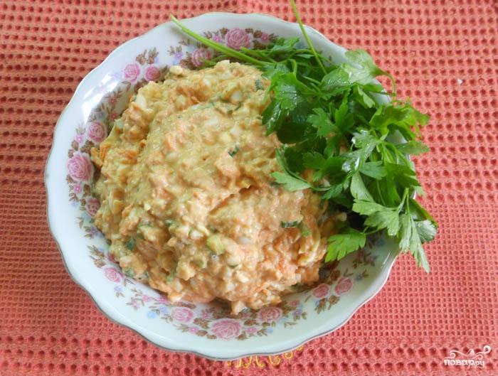 Салат с печенью минтая рецепт с
