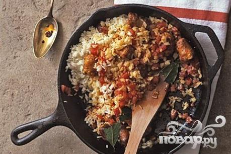 Рецепт Рис с куриными колбасками
