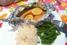 Семга, запеченная под соусом