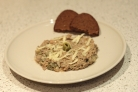 Салат с вареной печенью и солеными огурцами