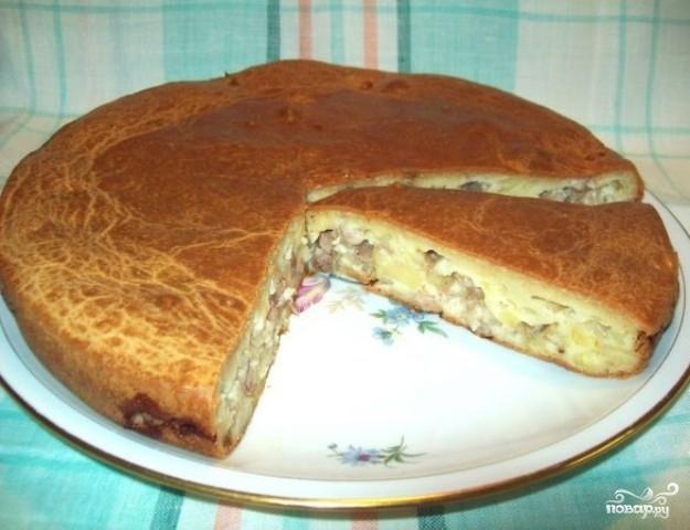 Заливной пирог с мясом