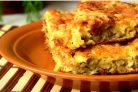 Наливной пирог с грибами и сыром
