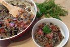 Перловая каша с грибами и беконом