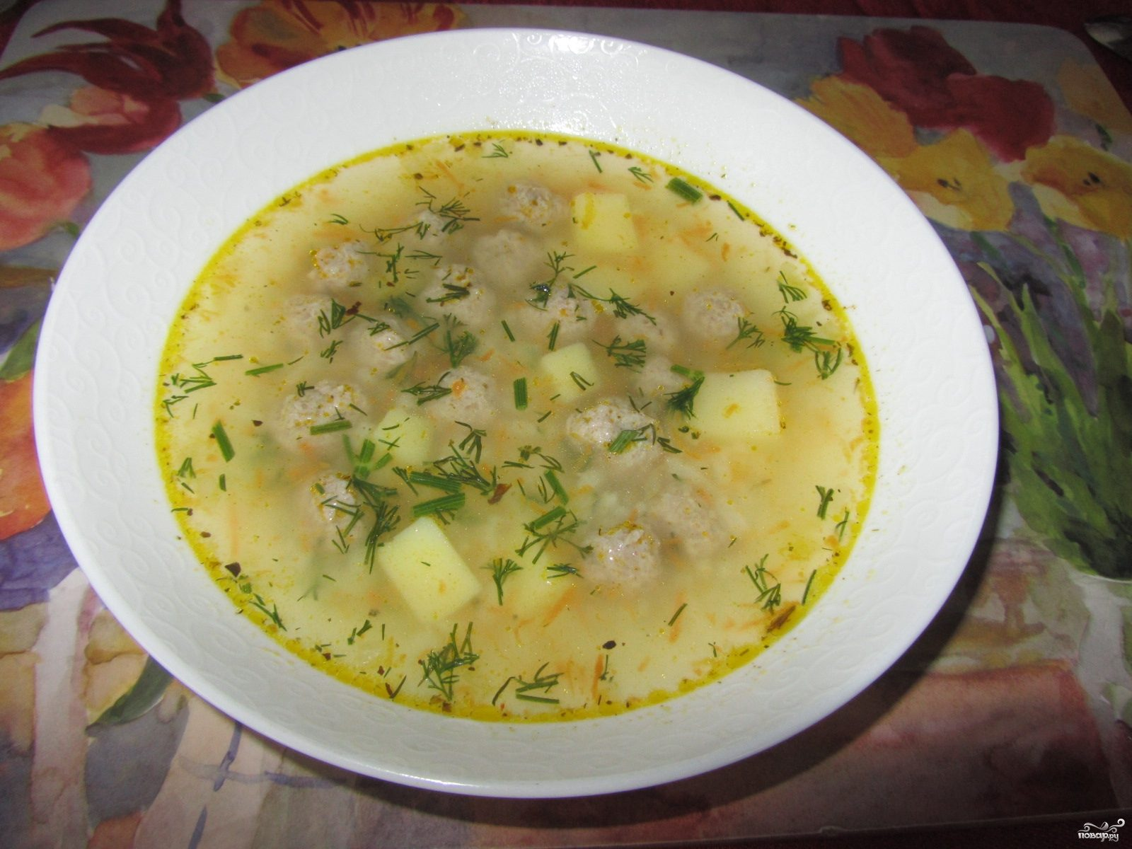 Суп с фрикадельками и рисом в мультиварке