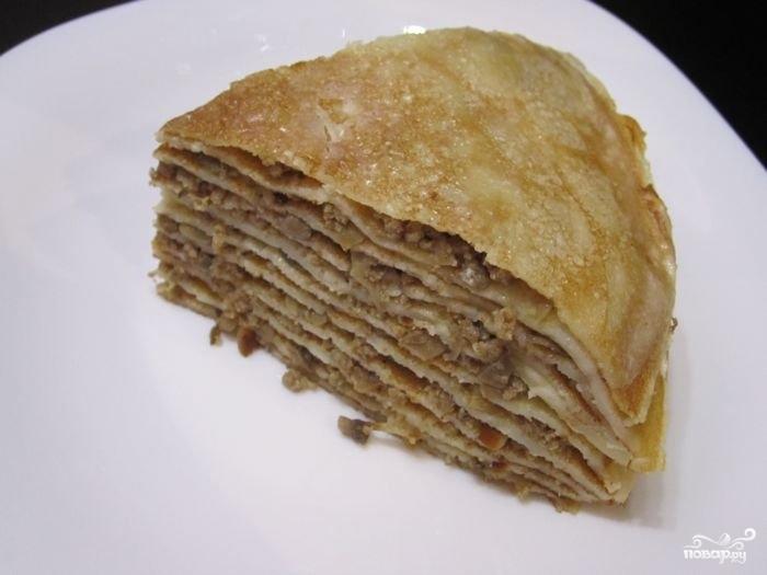 Блинный пирог с печенью