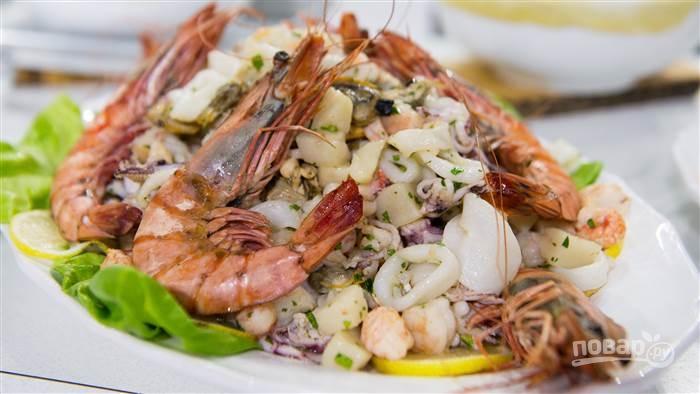 Зеленый салат с морепродуктами рецепт 181
