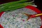 Окрошка на сыворотке с колбасой