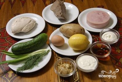 Рецепт Окрошка с колбасой