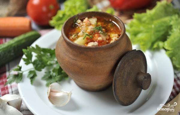Куриный суп в горшочке