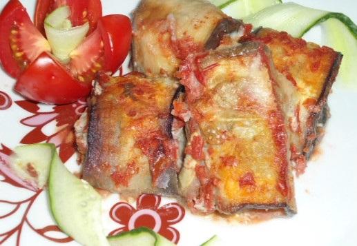 Рулеты из баклажанов с мясом
