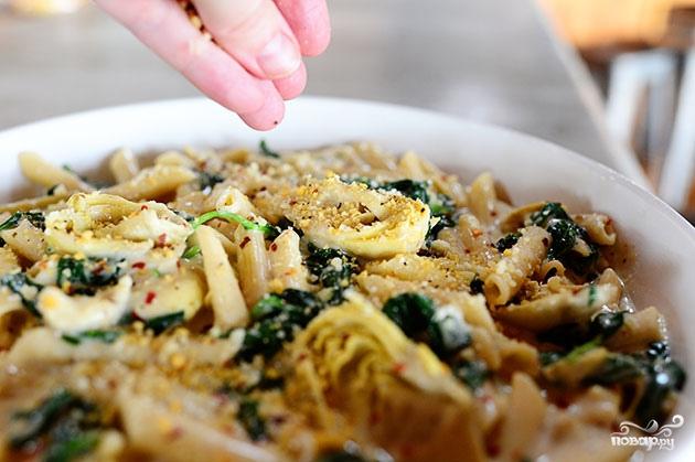 Паста со шпинатом и артишоками - фото шаг 11