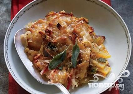 Рецепт Запеканка из яблок, тыквы и лука-порея