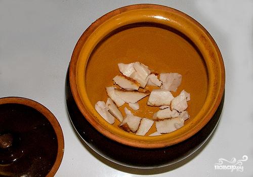 Рецепт Картофель, запеченный с салом в горшочках