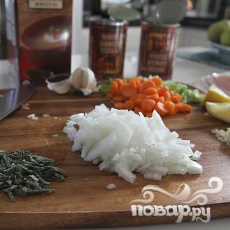 Суп-пюре с фасолью и ветчиной - фото шаг 1