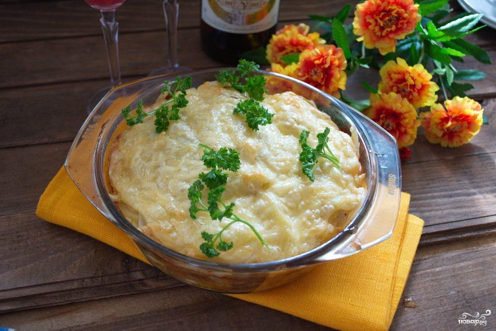 Запеканка с колбаской и сыром