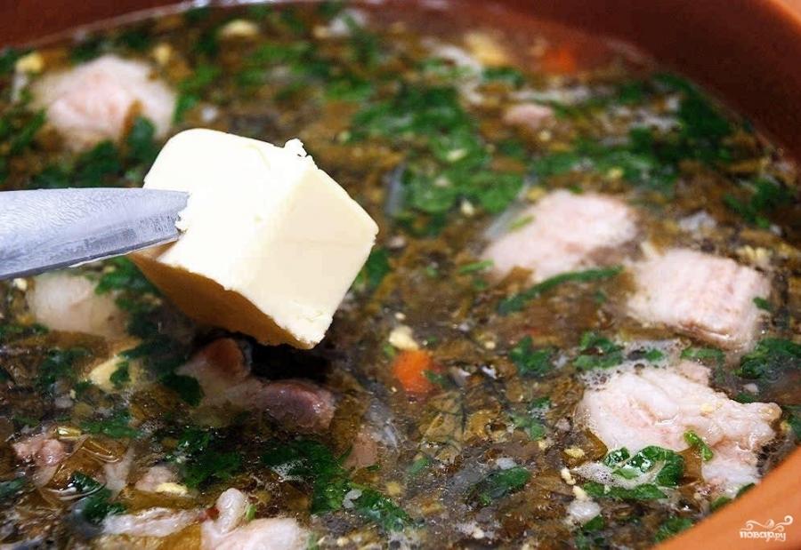 зеленый борщ с щавелем и яйцом постный рецепт с фото #11