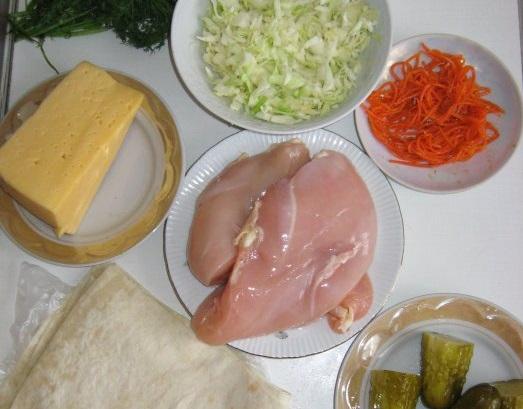 Ингредиенты для шаурмы по домашнему