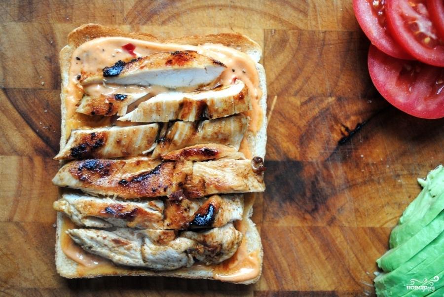 Клубный сэндвич с курицей - фото шаг 5