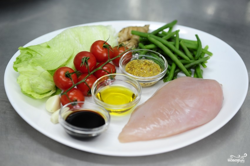 Рецепт Салат из стручковой фасоли с курицей