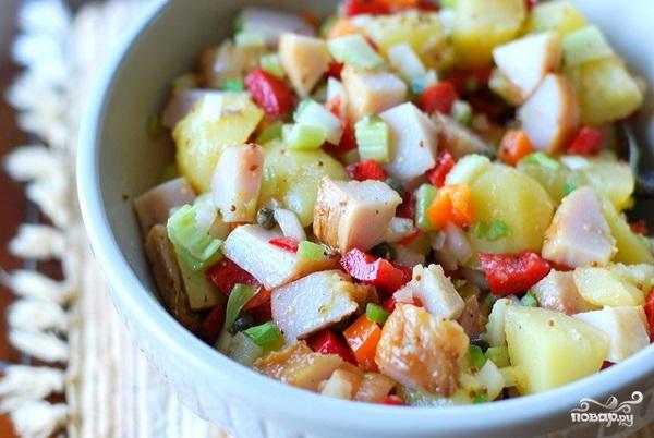 Рецепт Салат из рыбы горячего копчения
