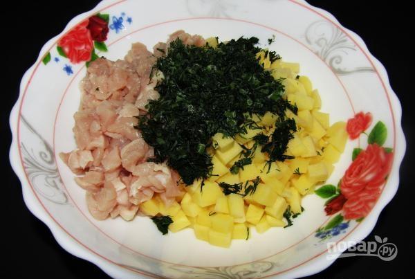Курник маленький из курицы с картофелем пошаговый рецепт с 4