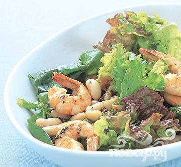 Рецепт Салат с креветками и фасолью