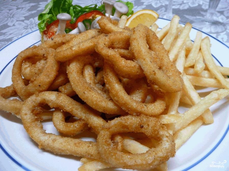 Жареные кольца кальмаров - фото шаг 3