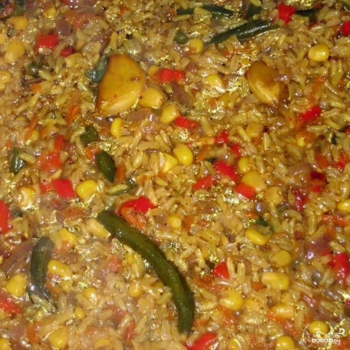 Коричневый рис с овощами - фото шаг 8