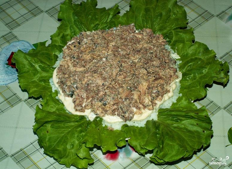 Рецепт салата с сайрой слоями