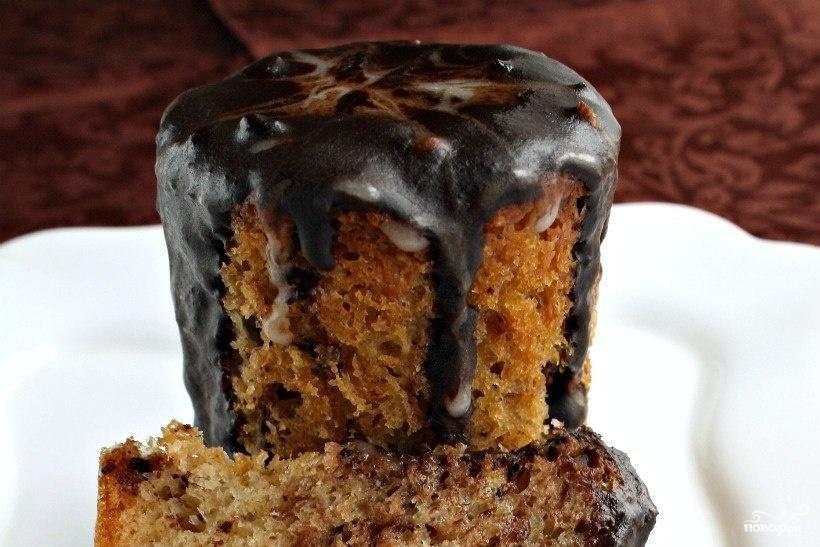 Рецепт Мраморный кулич с шоколадно-кофейной глазурью