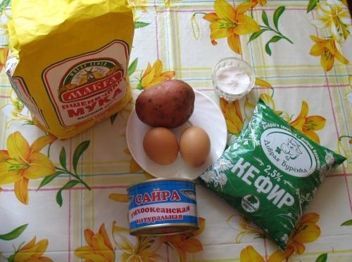 Рецепт Быстрый рыбный пирог на кефире