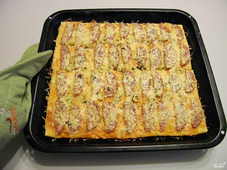 пицца из дрожжевого теста в духовке рецепт с фото