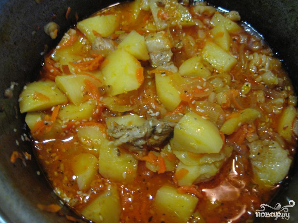 картошка тушеная с свининой рецепт с фото пошагово в мультиварке