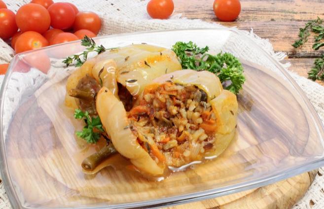 Фаршированный перец грибами в духовке - фото шаг 6